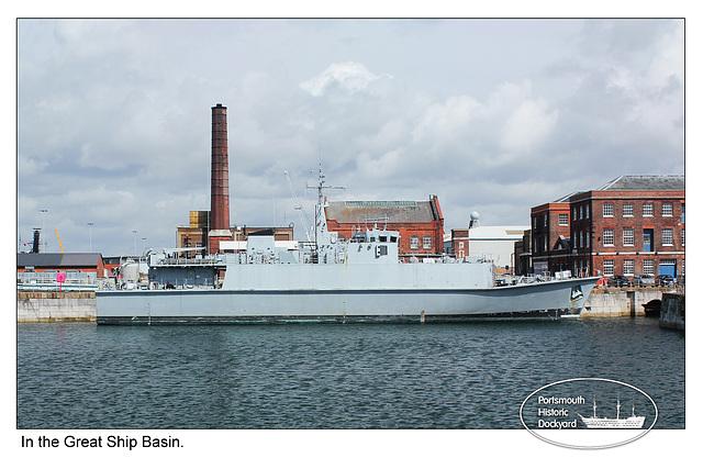 HMS Walney - Small ship in the Great Ship Basin - 22.8.2012