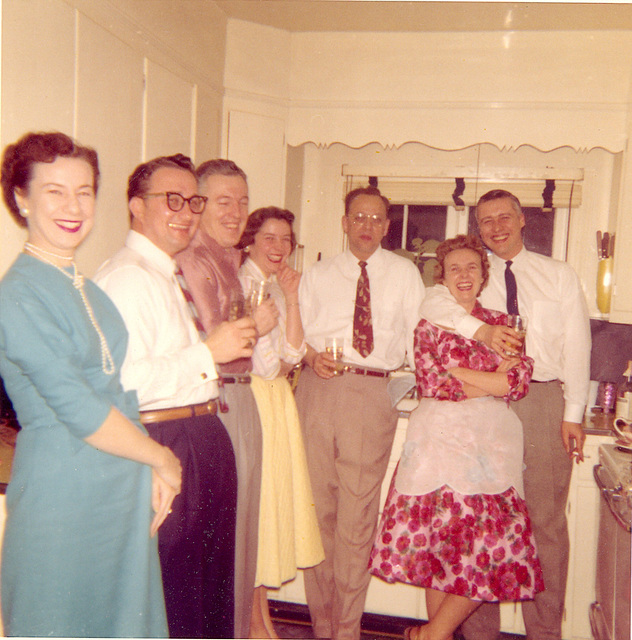 Standing in the corner waiting for the ball to drop. Greenville, Illinois, New Years, c. 1959