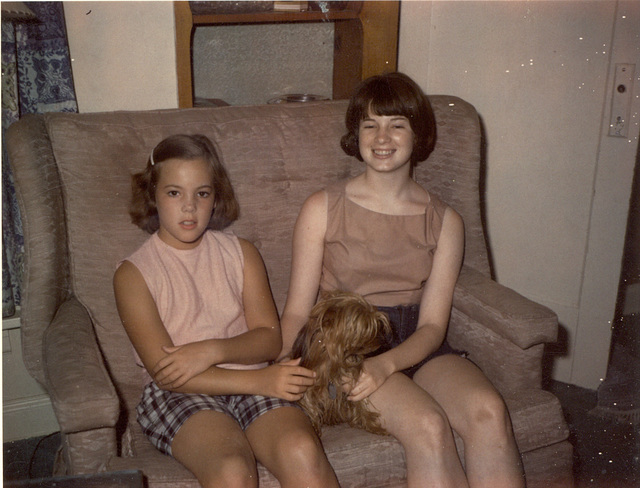 Nancy and Mary Tarpley with Cricket the dog, July, 1965