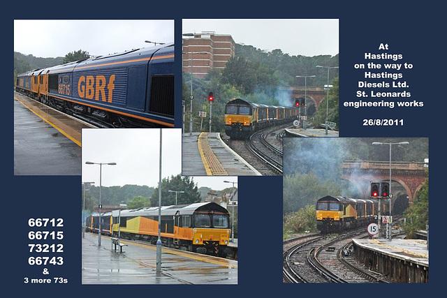 66712, 66715, 73212 + 3x73s & 66743 - Hastings - 26.8.2011