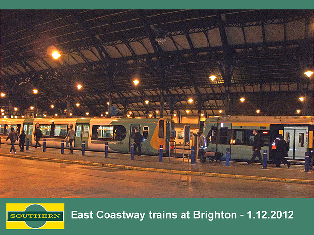 East Coastway trains at Brighton  1 12 2012