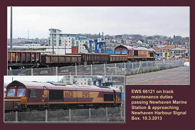 EWS 66121 on a track maintenance train near Newhaven Harbour Station - 10.3.2013