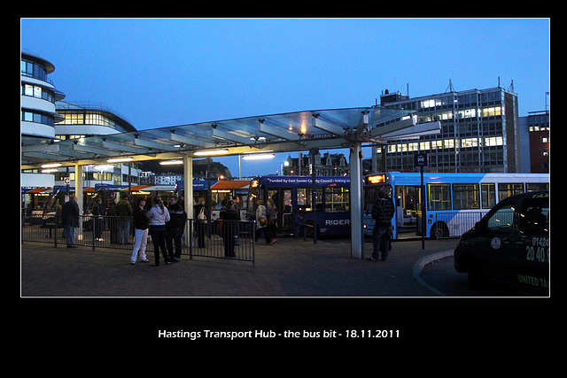 Hastings station with Stagecoach,ESCC Rider &c 18 11 2011