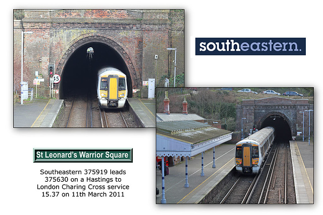 Southeastern 375 919 & 630 entering & leaving St Leonard's Warrior Square - 11.3.2011