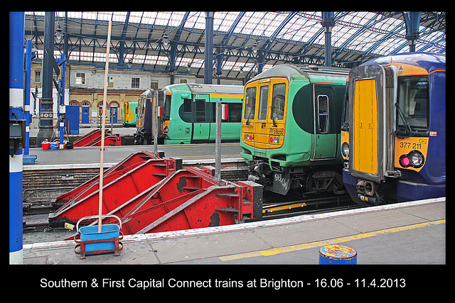 Southern & FCC trains at Brighton 11 4 2013