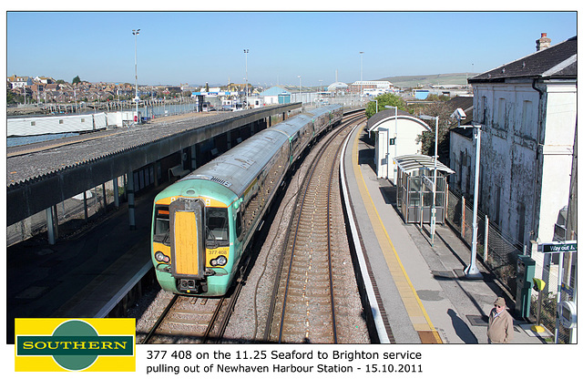Southern 377408 leaving Newhaven Harbour 15 10 2011