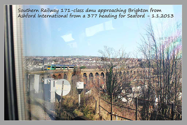 Southern class 171 - Brighton viaduct - 1.1.2013