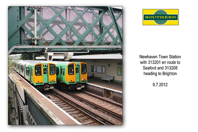 Southern Railway EMUs 313201 & 313208 - Newhaven Town - 9.7.2012
