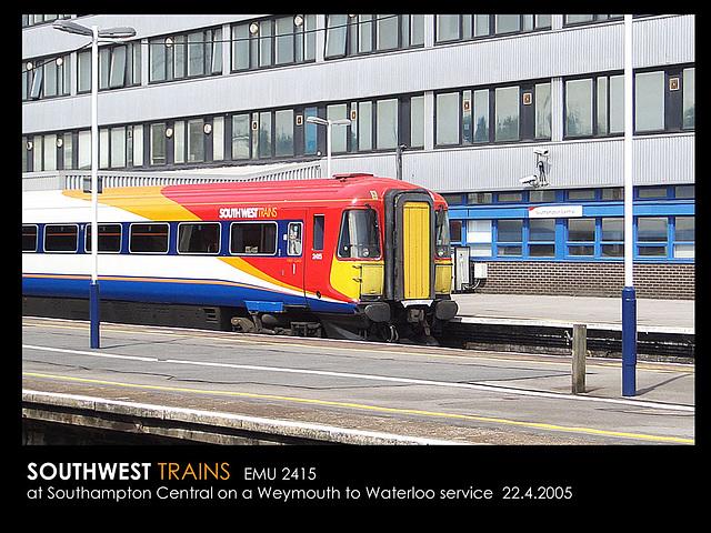 SWTrains 2415 Weymouth - Wloo 22 4 2005 at Soton