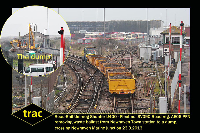 trac Unimog Shunter SV090 at the Newhaven Marine junction on 23.3.2013