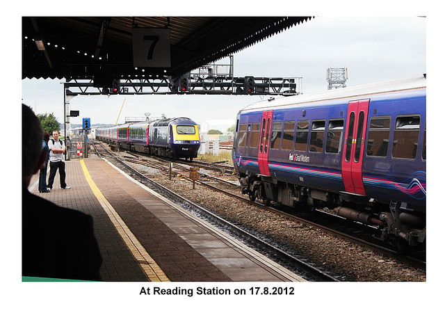 Trains pass at Reading 17 8 2012