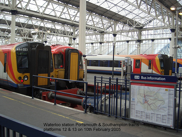 Waterloo station with Portsmouth & Southampton trains - 10.2.05