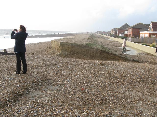 Beach erosion by 114 Southwood Road, Hayling - January 2014