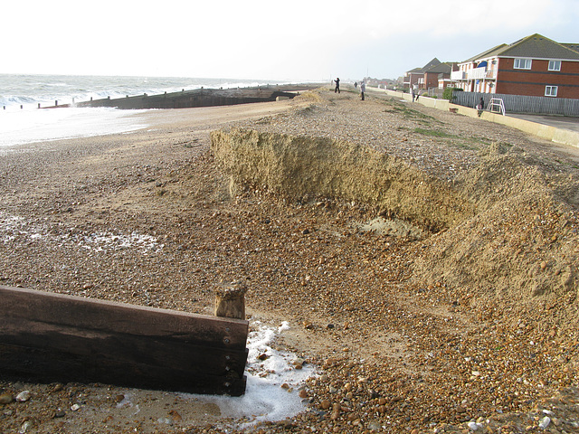Beach erosion by Nab Car Park, Southwood Road, Hayling - January 2014