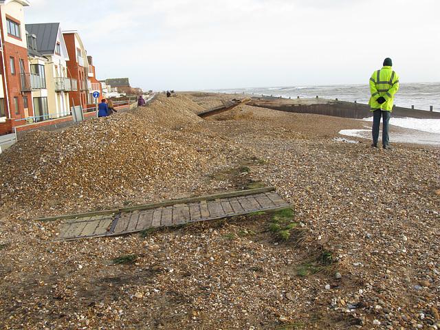 Beach erosion by Nab Car Park, Southwood Road, Hayling Island - January 2014