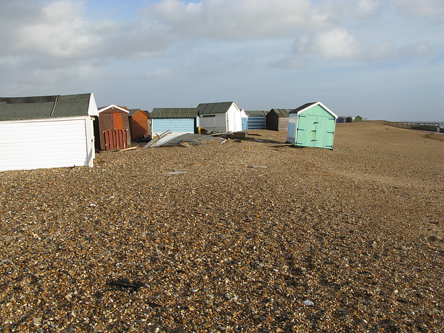 Beach huts on Hayling Island suffer in January storms - 2014