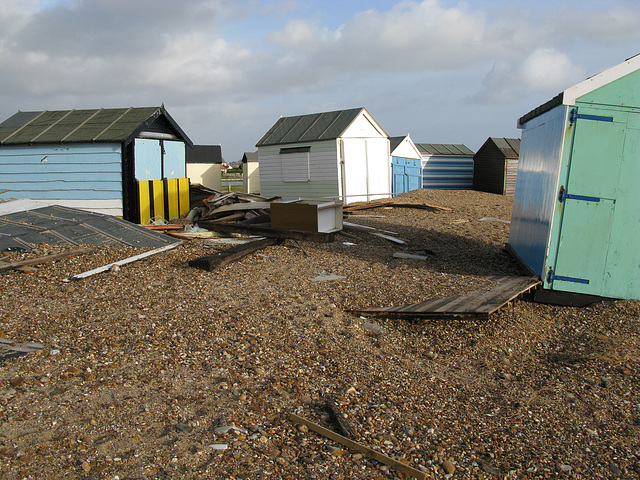 Hayling Island seafront beach huts wrecked in January storms - 2014