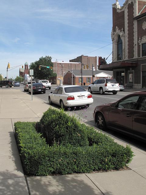 Downtown Terre Haute city sidewalk plants.