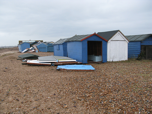 More smashed huts near Inn on the Beach, Hayling Island
