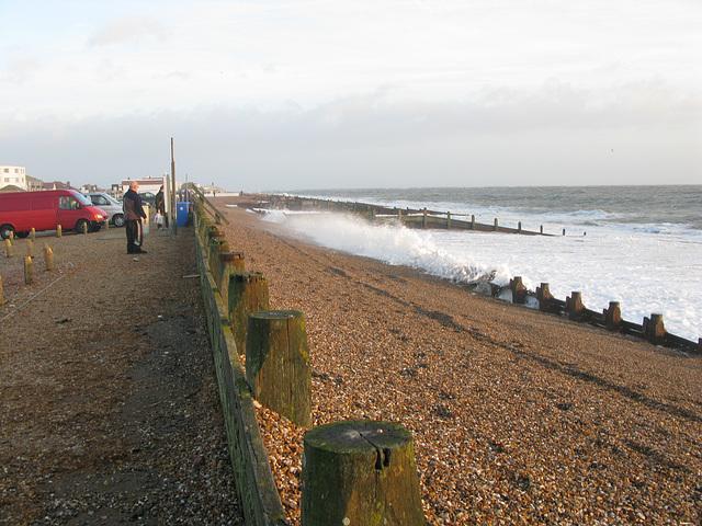 Sea defences at Eastoke Car Park, Hayling Island