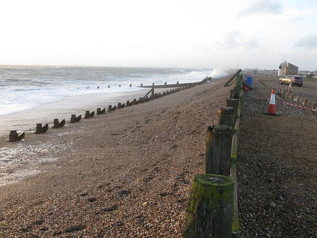 Sea defences at Eastoke Car Park, Hayling