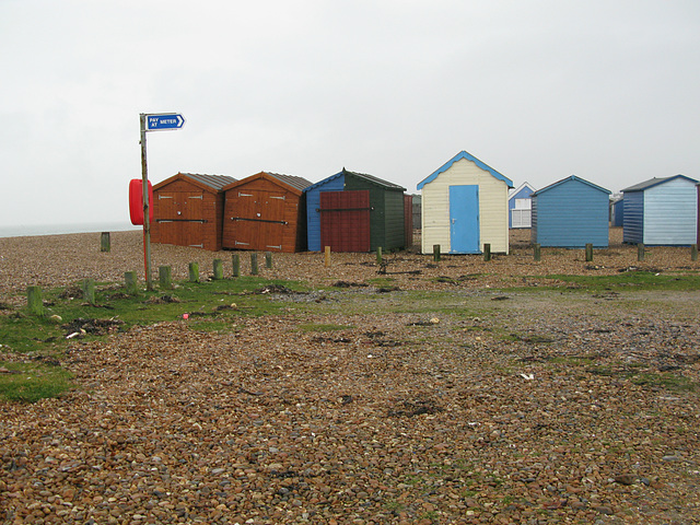 Skew-whiff beach huts On Hayling Island Seafront