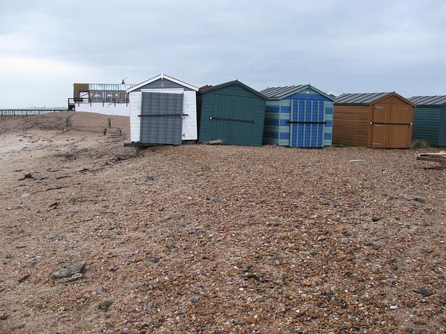 Undermined huts near Inn on the Beach, Hayling Island