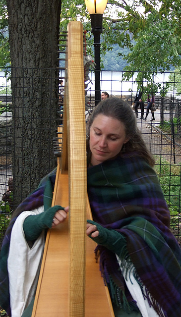Harpist Performing at the Fort Tryon Park Medieval Festival, October 2010