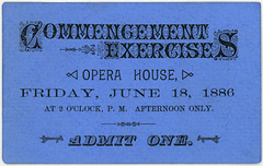 Commencement Exercises Ticket, June 18, 1886