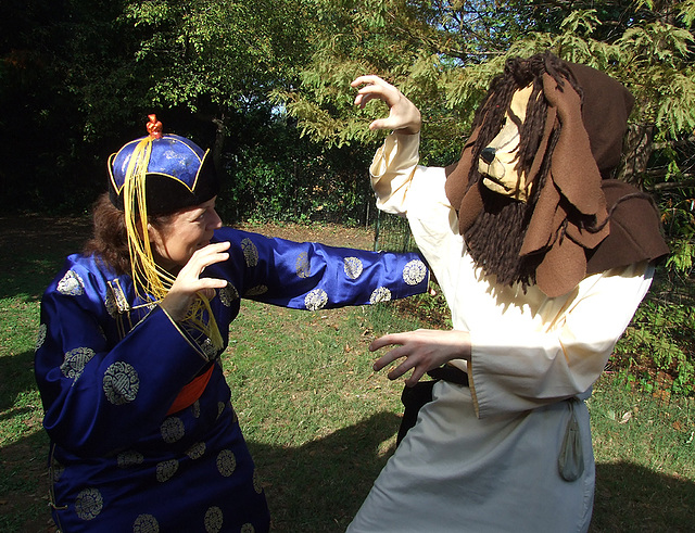 Branimira and the Lion at the Fort Tryon Park Medieval Festival, October 2010