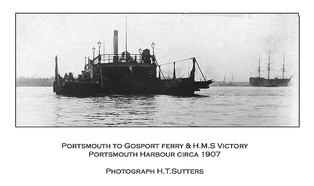 Gosport ferry & H.M.S. Victory - Portsmouth circa 1907 by H.T.Sutters