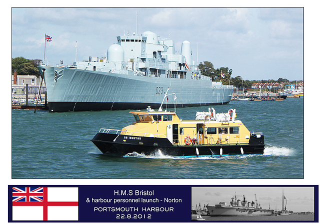 HMS Bristol & launch Norton Portsmouth 22 8 12