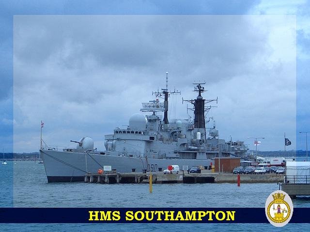 hms southampton hat band & sat border la 3+ crest