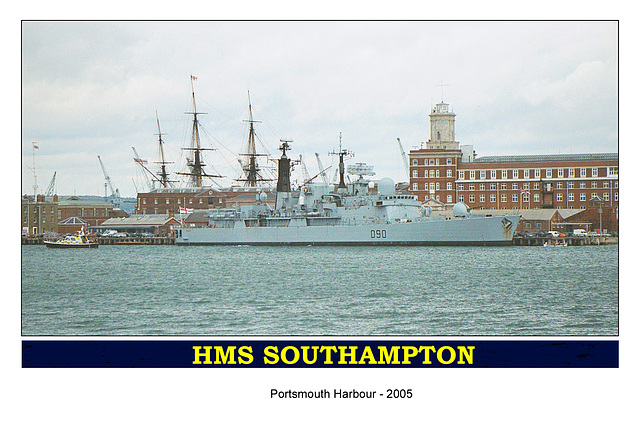 HMS Southampton with hat band  from Gosport July 2005