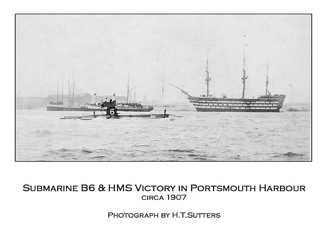 Submarine B6 & HMS Victory in Portsmouth Harbour c1907 by H.T.Sutters