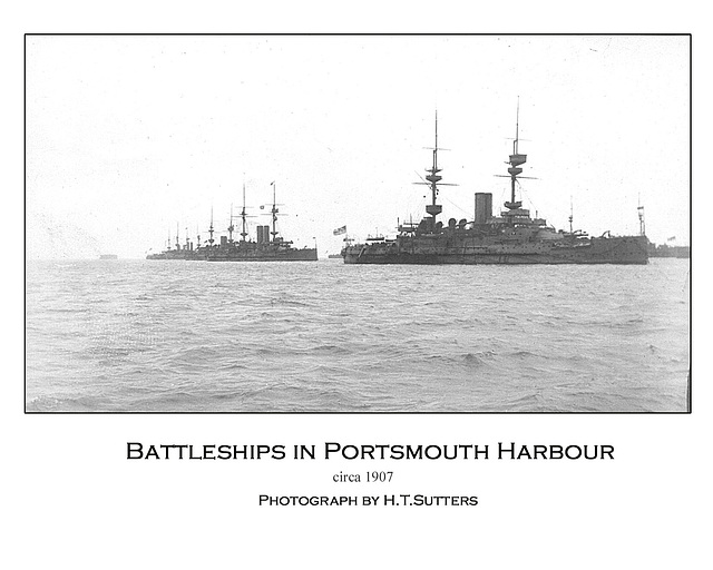 Pre-WW1 Battleships in Portsmouth Harbour by HTS