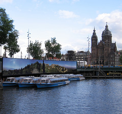 Sint Nicolaaskerk and Tour Boats, Amsterdam, The Netherlands
