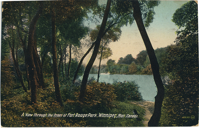 A View through the trees of Fort Rouge Park, Winnipeg, Man., Canada