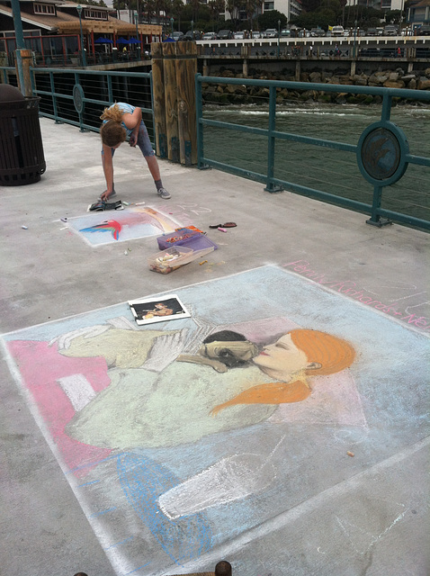 Chalk at Redondo Pier: Around 1:30pm
