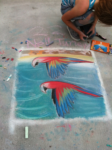 Chalk at Redondo Pier:  Macaws