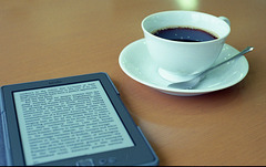 Kindle and a cup of coffee