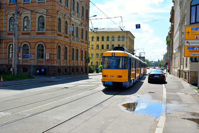Leipzig 2013 – Tram 2154 towed by 2111 on the Friedrich-Ebert-Straße
