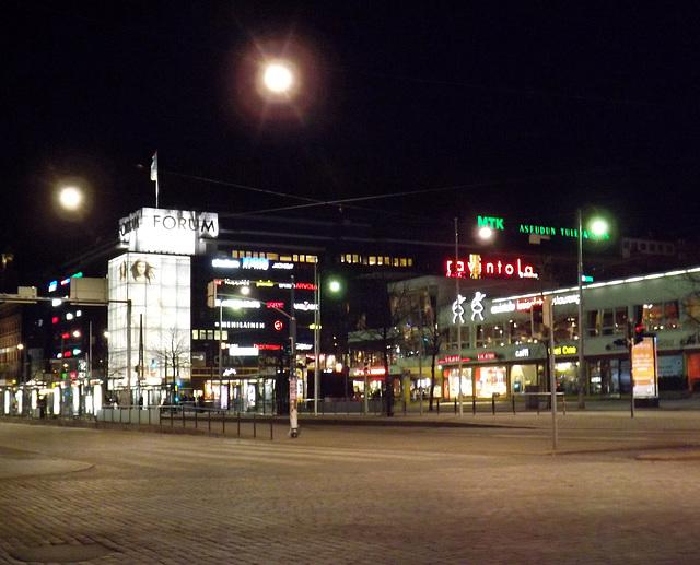 The Lasipalatsi and Street at Night in Helsinki, April 2013