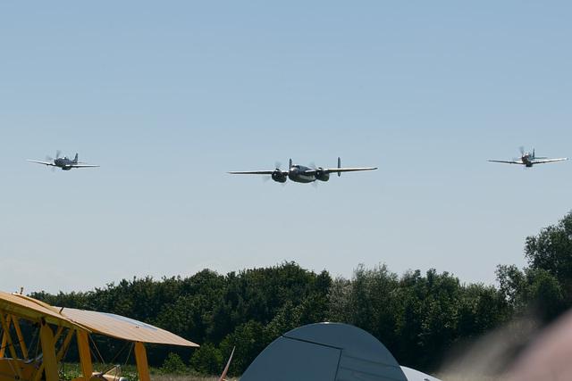 B-25 Mitchell + Mustang escourt