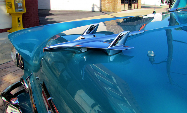 Vintage Blue '55 Chevy Bel Air Hood Ornament
