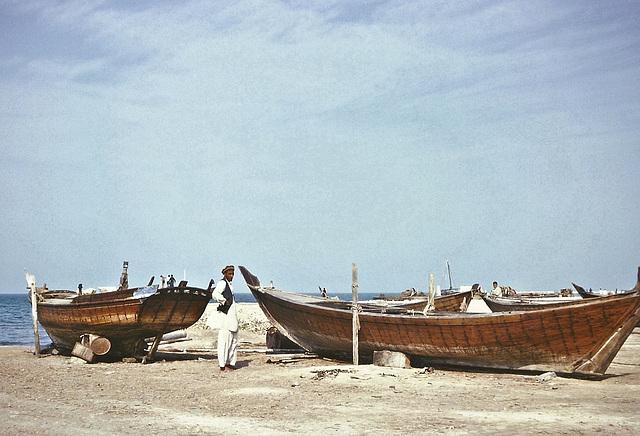 Among the dhows, Doha seafront, Qatar, 1967