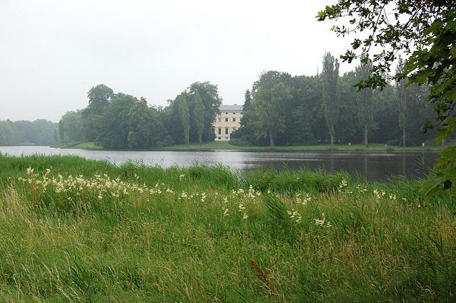 borda paŝtejo, lago, kastelo de Vorlico nomata ankaŭ somerdomo  (Uferweide, See, Wörlitzer Schloß auch Landhaus genannt)