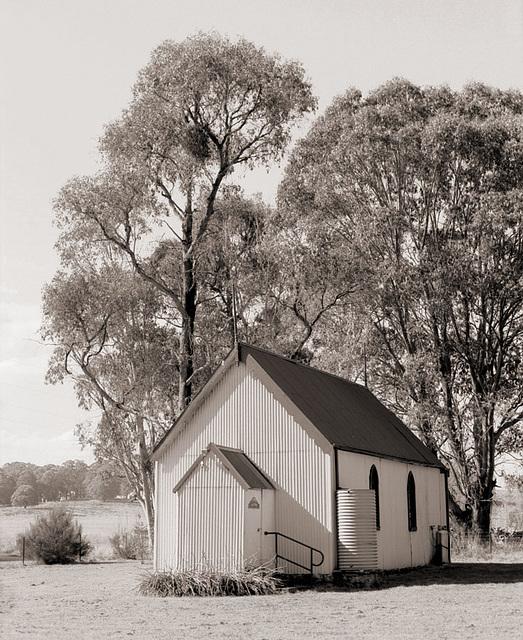 Corrugated Iron Church & Water Tank Black Springs