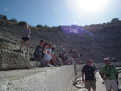 People sitting at the amphitheatre at Ephesus