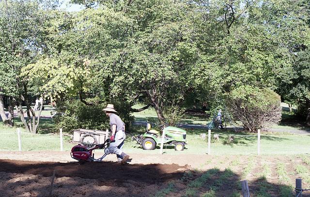 Walk-behind tractor and John Deere mower